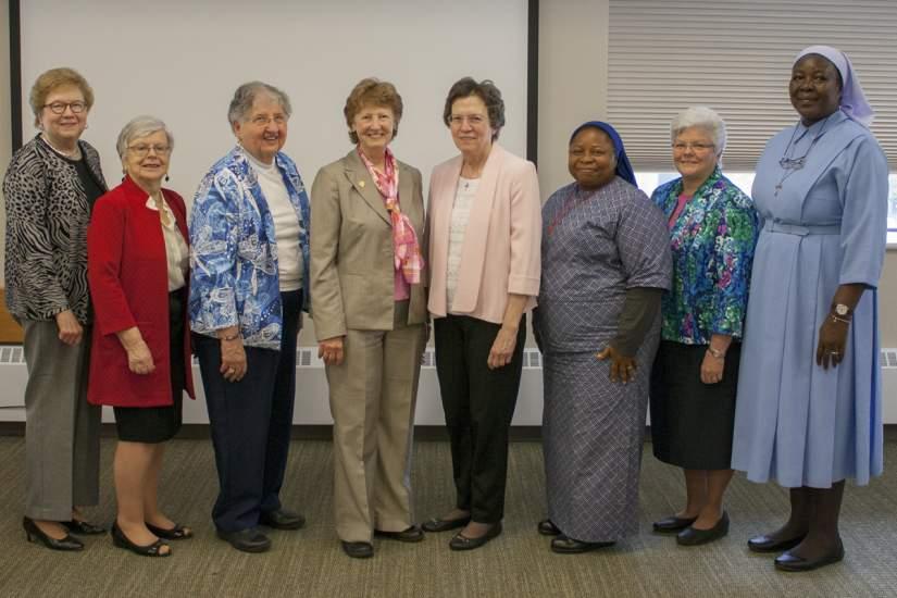Left-Right: Sr. Carol Jean Vale, SSJ, Ph.D. (former Board Chair), Honoree Brighid Blake, Honoree Jane Farr, Ph.D., Honoree Sr. Anne Myers, SSJ, Ph.D., Honoree Sr. Marijane Hresko, OSF, MA, Honoree Sr. Florence Nwaonuma, SSH, Sr. Kathryn Dougherty, OSF (Board Chair), Sr. Draru Mary Cecilia, LSMIG, Ph.D. (ASEC Executive Director). Honorees not in attendance: Sr. Carol Ann Knight, SHCJ, MA, Sr. Anna Mary Henrietta Nyangoma, MCESM