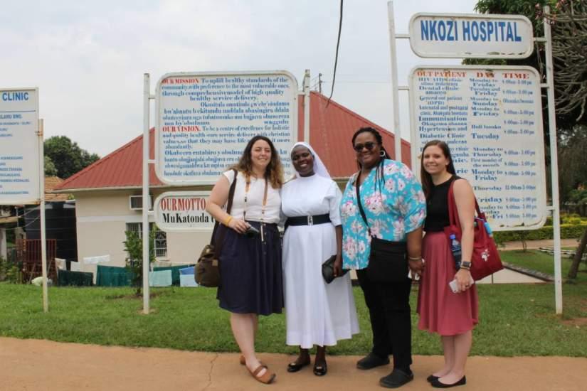 Staff & partners visited Nkozi Hospital in Kampala, Uganda, where HESA alumna Sr. Harriet Baker, IMHR, serves as Nursing Director, supervising ≈100 healthcare workers. From L-R:  Rosemary Shaver, Sr. Harriet Baker, April Fowlkes, Tara Lopatofsky