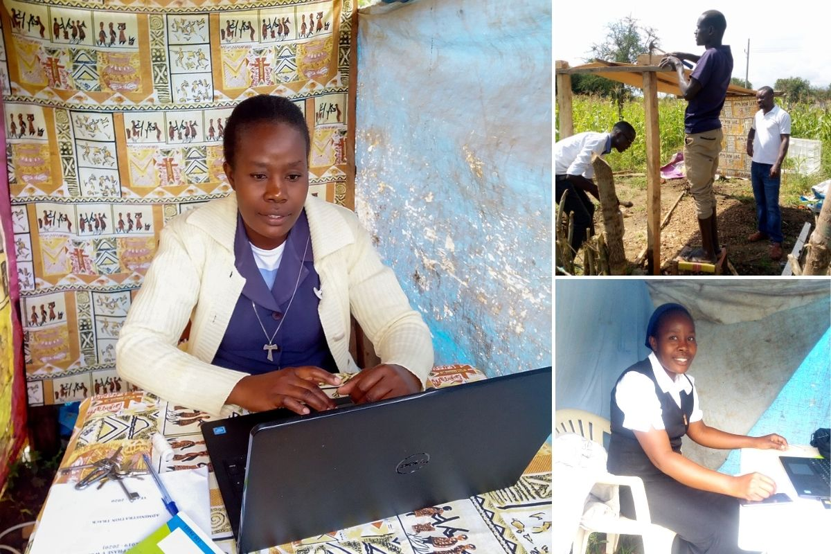Sr. Christabel, an SLDI student in Uganda, works from a tent on her congregation's farm to get the best internet connectivity.