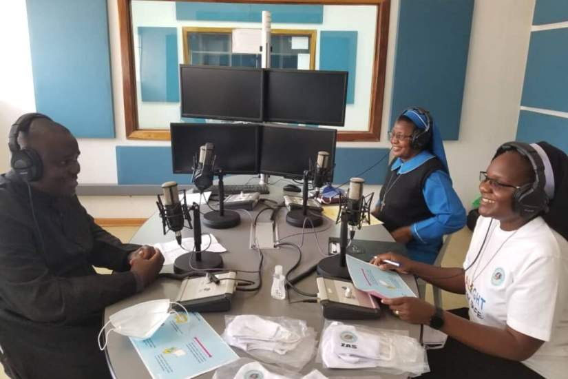 Fr. Charles Sokota, ASEC Country Director Sr. Juliana Zulu, RGS, and SLDI alumna Sr. Astridah Banda, OP, hold a radio program to disseminate information about COVID-19 to people in Lusaka, Zambia.