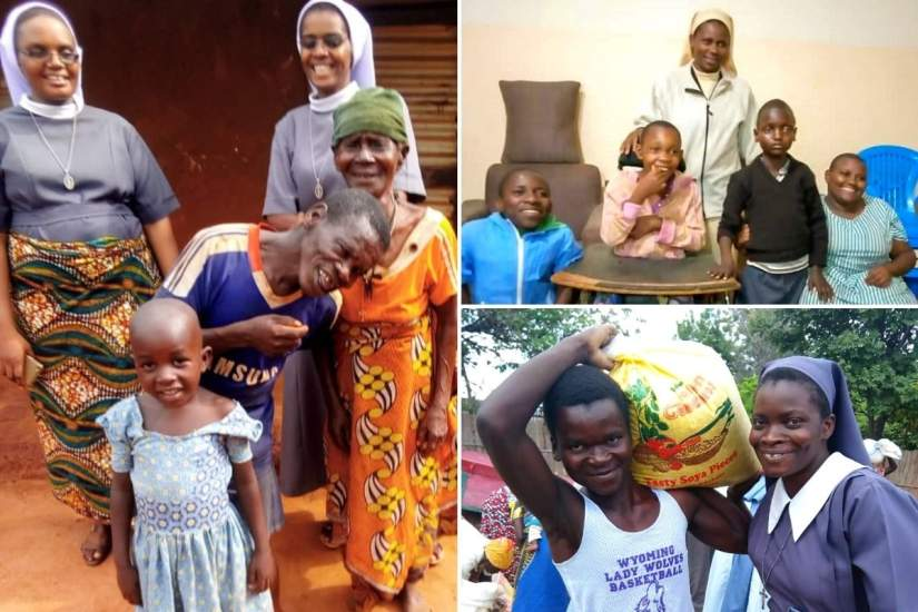 Clockwise, from top left: (1) SMI sisters, Tanzania, visit an elderly woman who is in need of assistance. (2) LSOSF sisters care for individuals with various disabilities. (3) Teresian sisters distributing maize using the funds secured by an SLDI alumna.
