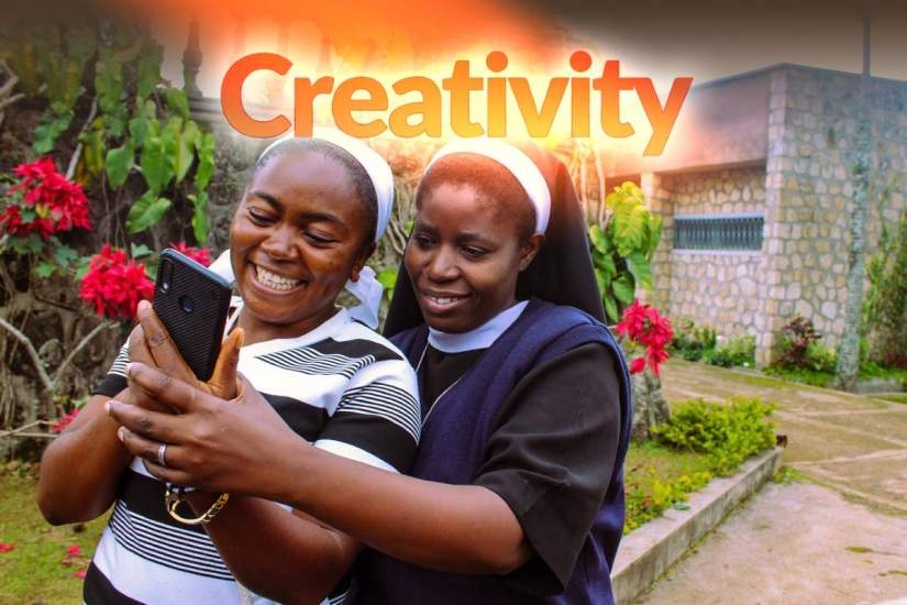 Armed with an education and technology training, Catholic sisters are unleashing their creativity across sub-Saharan Africa to implement innovative and creative solutions to real world problems. Pictured above, sisters Odette and Cecilia explore technology on a cell phone.