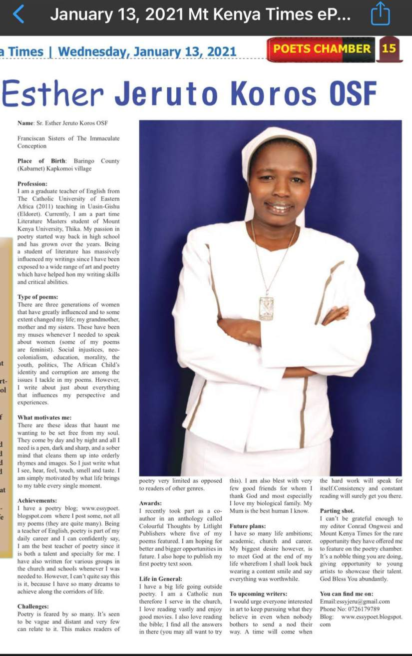 During the pandemic lockdown and using her ASEC computer skills, an internet connection and her compilation of poems dating back to 2008, Sr. Esther started a poetry blog. Her blog was featured in the Mt. Kenya Times in January, 2021. Since then, she's published her first book, The Child is Black, thanks to a generous sponsor who read her blog.