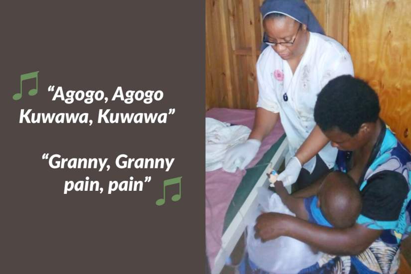 """""""'Agogo, Agogo, (Granny, Granny), Kuwawa, Kuwawa, (pain, pain)' – This is a new song I have learnt from children each time I am giving them [a malaria] injection in our clinic."""" -Sr. Grace Akpan, MMM"""