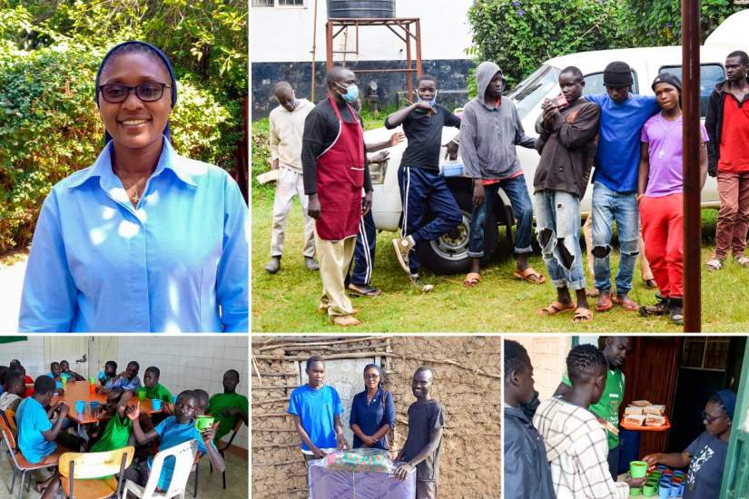 In January, 2020, HESA alumna Sr. Winnie Mutuku (top left), founded Upendo Street Children (USC), an organization that serves homeless boys in Kitale, Kenya.(Photos courtesy of Sr. Winnie and the USC Facebook Page)