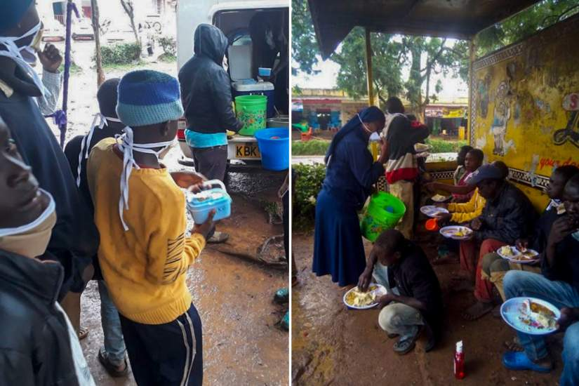 Due to the pandemic, Sr. Winnie and USC staff can only serve food three days a week. The boys are encouraged to take leftovers, so they'll have meals for the remaining days.(Photo from USC Facebook Page)