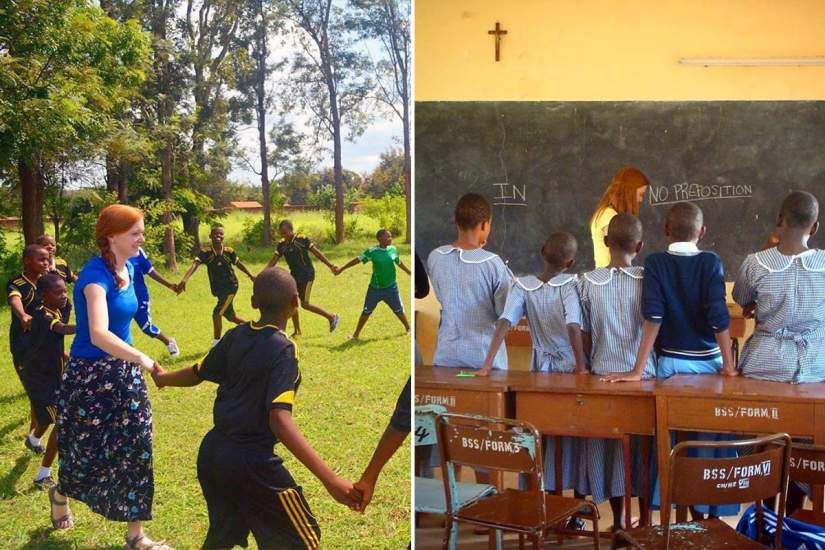 The service learning group visited Bigwa Sisters' Secondary School in Morogoro, Tanzania to tutor the students in English.