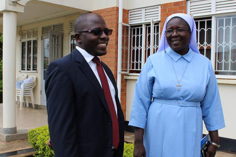 Sr. Draru Mary Cecilia, LSMIG with Mr. Julius Ahimisimbwe, facilitator of the SLDI Finance II workshop, at the ARU Secretariat in Kampala, Uganda.
