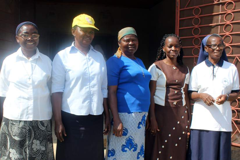 Holy Rosary Sisters running the development centre in Chipapa with Hedwig Nafula (second from right) during the an SLDI field trip to Chipapa.