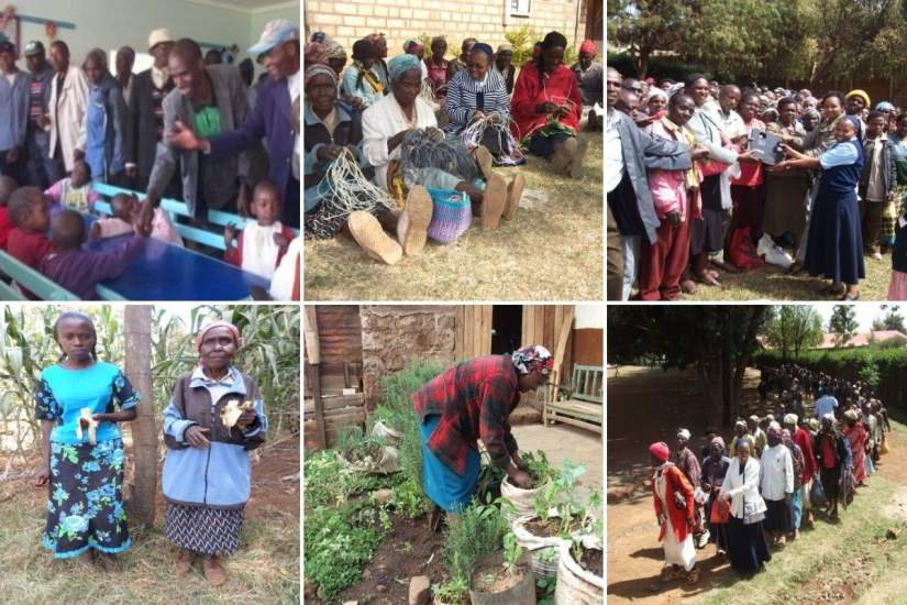 Clockwise, from L-R: 1. Sr. Lucy made efforts to engage men in her empowerment campaign, offering them seminars in parenting, microfinance and anger & stress management. 2. Empowering parents through microfinance and agriculture activities. 3. Sr. Lucy also has a passion for Mother Earth. She mobilizes children and their parents to plant trees in the community every rainy season. 4-6. Sr. Lucy organized a support group for the elderly and sick. At first the group was for emotional support, but expanded to include microfinance activities as well.