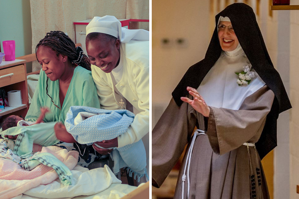 Left: A Catholic sister in Kenya, Africa helps to deliver a baby at her congregation's hospital. Right: Villanova basketball star Shelly Pennefather left her family, friends and basketball career to become a cloistered nun.