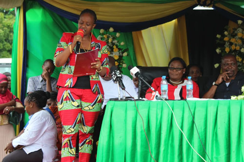 Mrs. Maida Waziri, the VOWET President giving a speech during the Women's Day at Dar es Salaam, Tanzania