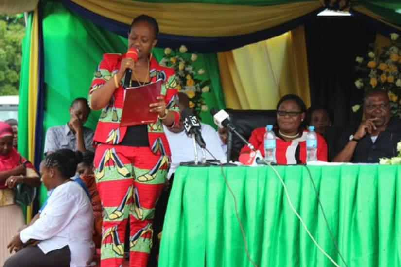 Mrs. Maida Waziri, the VOWET President giving a speech during the Women's Day at Dar es Salaam, Tanzania
