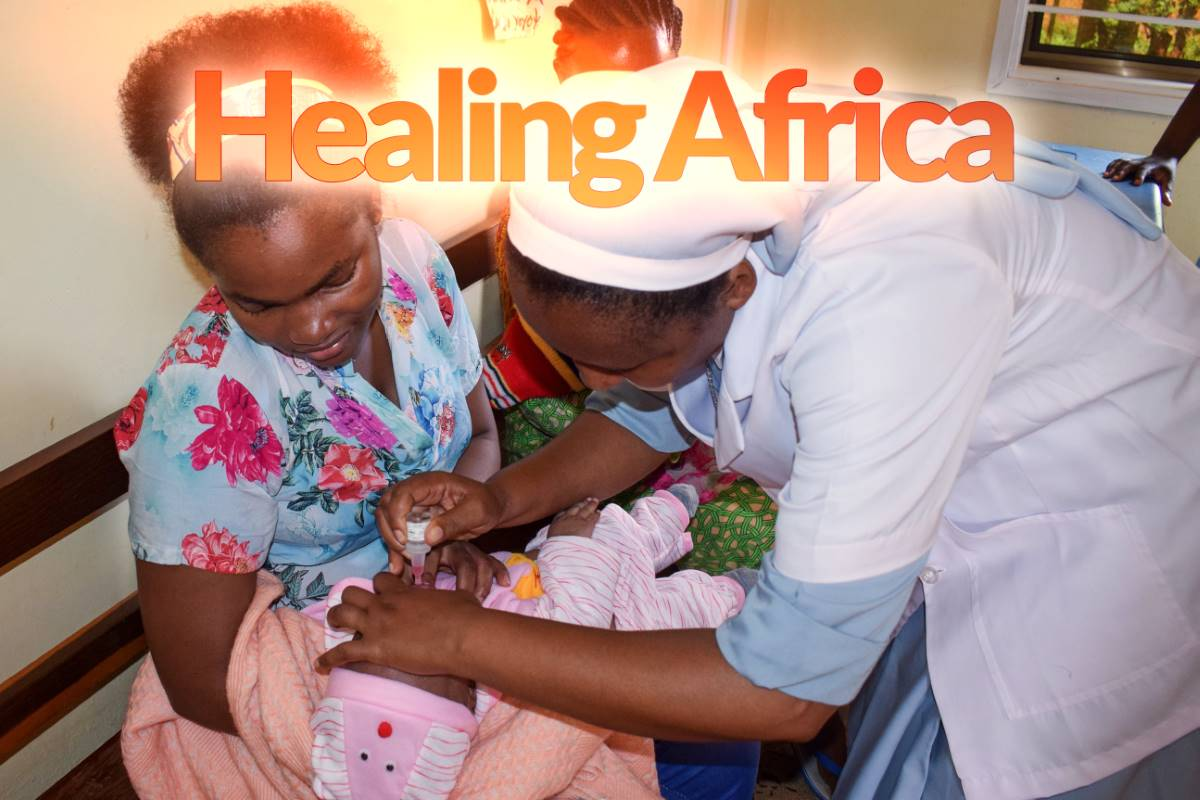 Catholic sisters are using their ASEC-sponsored education to provide healthcare and medical services to Africa's poor and vulnerable. Here, Sr. Monica Kissoly, SCC, an SLDI alumna in Tanzania, attends to a newborn baby at a women & children's clinic at Holy Cross Health Centre in Morogoro.
