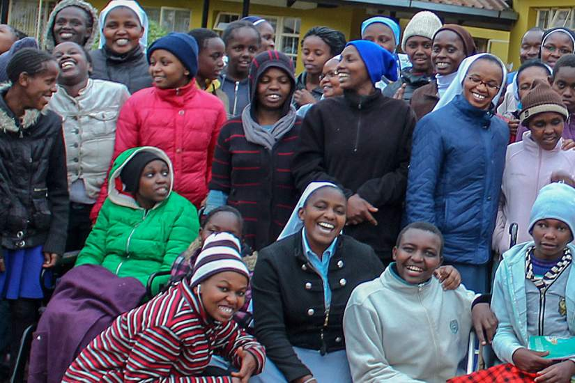HESA Alumna Sr. Anne Kamene, ASN (front, center) is the Director of Cheshire Home for Girls in Lumuru, Kenya. Cheshire Home provides a residential and training program for girls with varying mental and physical disabilities.