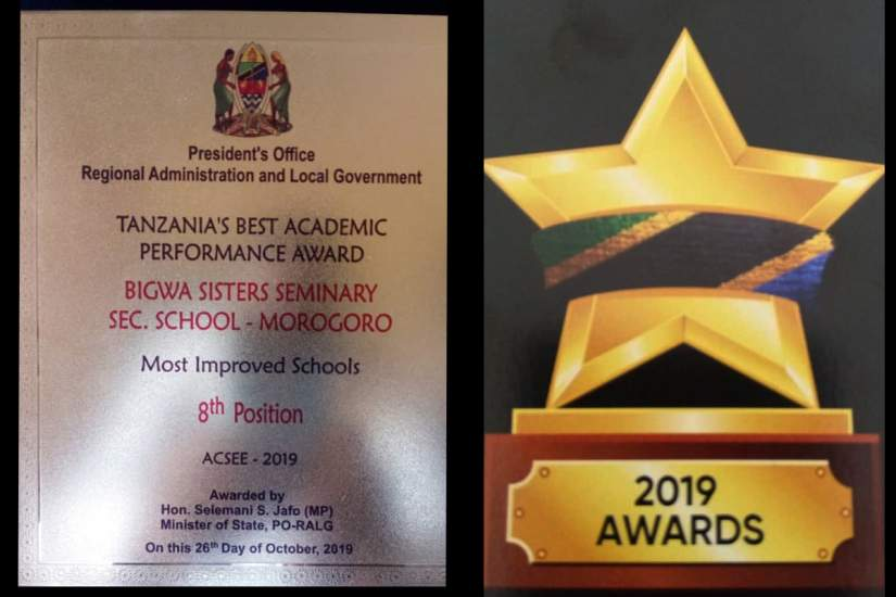 Crystal awards received by Bigwa for Tanzania Best Academic Performance
