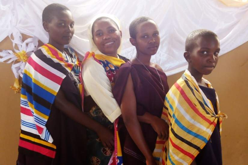 Sr. Maria (second from left) celebrating 2018 Christmas with Maasai society in Kilimanjaro, Tanzania. She says,