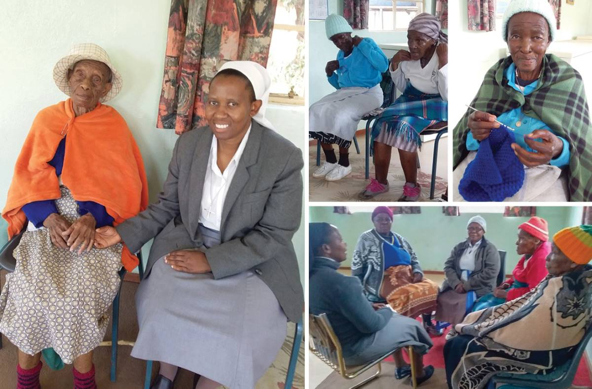 Sr. Albertina interacts with residents of Reitumetse Old Age Home in Lesotho, where she completed her college field experience.