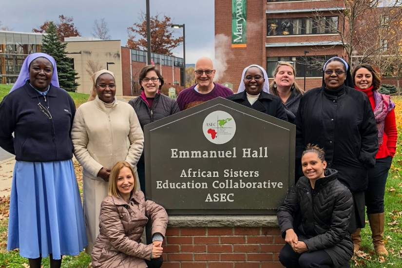 As part of the ASEC/CARA Visiting Scholar program, Sr. Joan was selected for a 6-month research fellowship in the United States. Here, she is pictured (2nd from right) with ASEC staff at our USA Headquarters on Marywood University's campus in Scranton, PA.