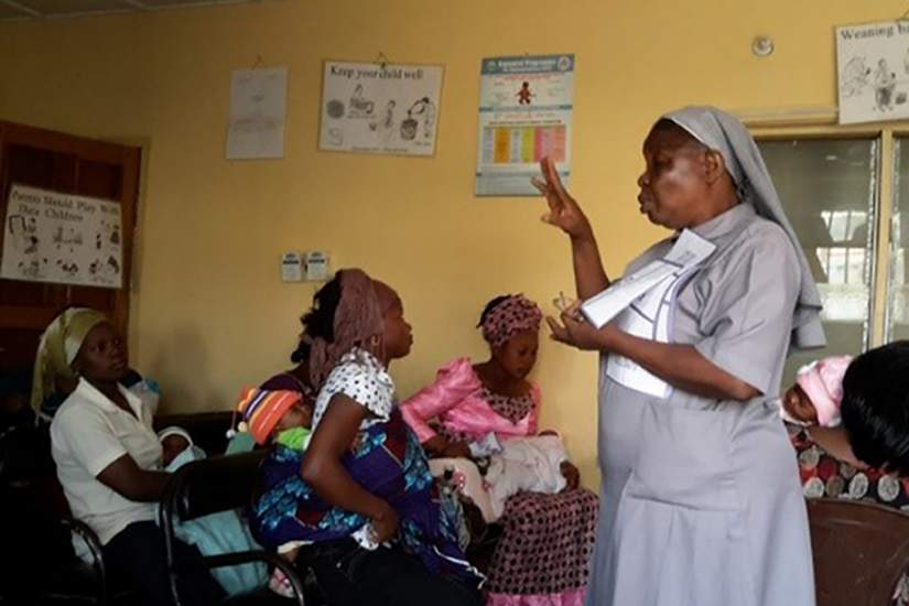 Sr. Eunice leading educational sessions at the clinic about cancer awareness, maternal care, tuberculosis, HIV/AIDS and more.