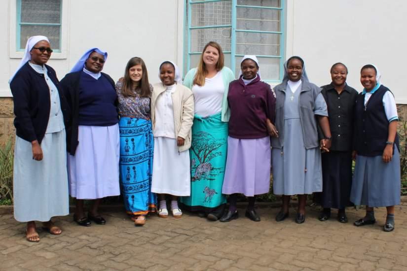 2018 participants of ASEC's SLDI Administration II workshop in Kenya with ASEC USA staff. From Left-Right: Sr. Annastacia, Sr. Annunciata, Jennifer Mudge (ASEC Asst. Director-Evaluation), Sr. Christine Mumbi, Jaime Herrmann (ASEC Asst. Director-SLDI), Sr. Aniceta, Sr. Ernest, Sr. Gisele, Sr. Modester.
