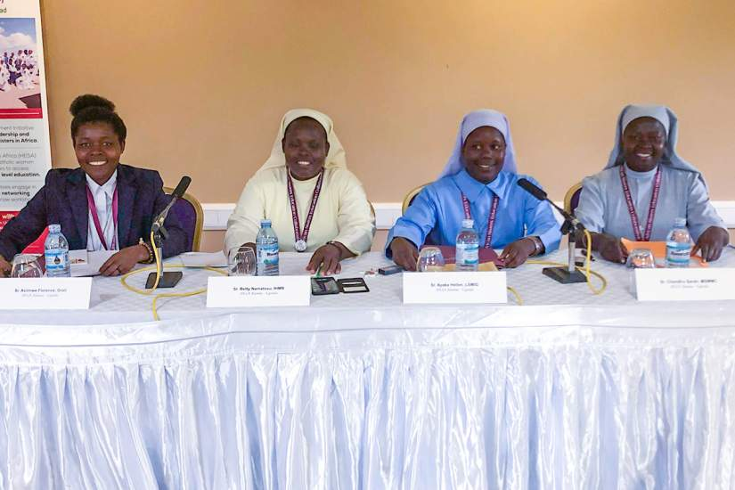 Sr. Mary Sarah Chandiru (right) served as a representative on the HESA alumnae panel at the inaugural 2019 HESA Partners Conference.