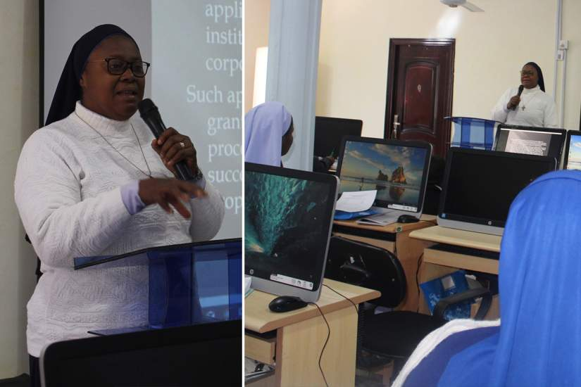 Sr. Josemaria serves as a mentor to other sisters, whether it be her own congregation or others. Here, she gives a presentation to other sisters at the ASEC alumnae workshop in Nigeria to teach them grant writing skills.