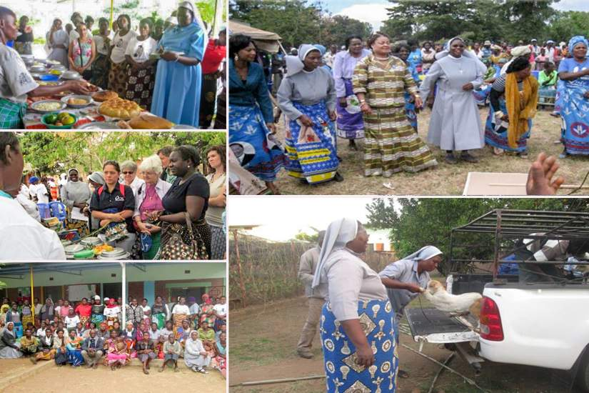 Sr. Hellen's project aims to improve food security and nutrition in Malawi in several ways. Clockwise, from top left: A kitchen demonstration; Sr. Hellen celebrating with stakeholders on the day her project was launched; purchasing goats to improve food security; beneficiaries of a training for positive parenting skills; demonstration on nutritional cooking.