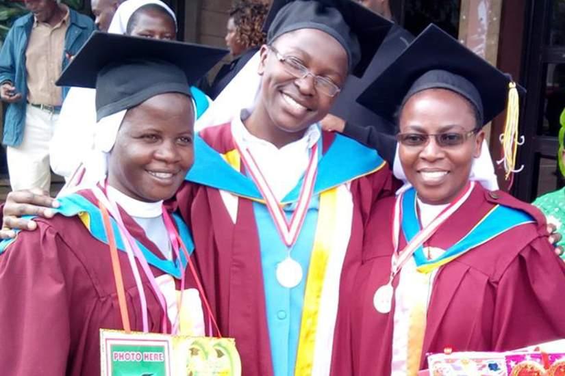 Sr. Imelda, Sr. Mary Kenyesigye and Sr. Mary Nalule pose for a photo after graduation from CUEA through ASEC's HESA program (November, 2017).