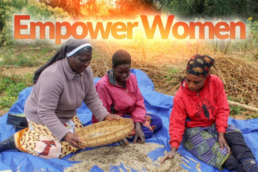 Through the foundation of their education, ASEC and SLDI alumnae consistently provide a stable foundation for the building up of other women and their surrounding communities. Here, SLDI alumna Sr. Judith Mwango, FMDM, is winnowing with local women farmers in Zambia.