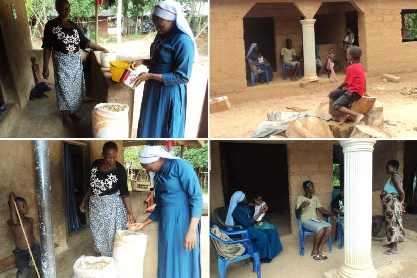 HESA alumna Sr. Veronica helping Mrs. Agu with her business selling ogbono soup in Nigeria.
