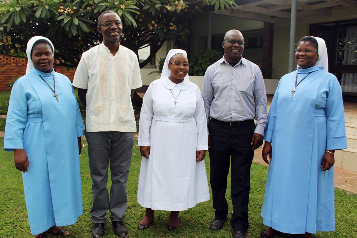 From Left to Right: Sr. Christine Phiri, Sampa Kalungu, Sr. Mwila Hachoofwe (center), Mr. Adam Daka, Sr. Prisca Phiri