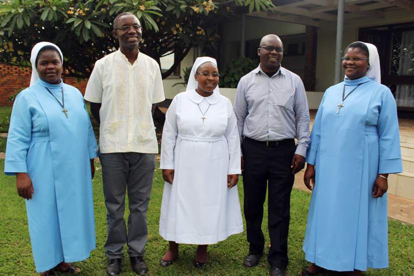 From Left to Right: Sr. Christine Phiri, Sampa Kalungu, Sr. Mwila Hachoofwe (center), Mr. Adam Daka, Sr. Prisca Phiri