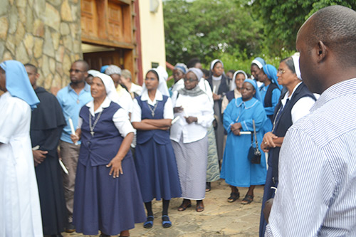 People entering Marian Shrine in Lusaka, Zambia on February 2, 2017.