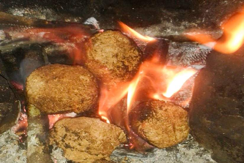 Sawdust briquettes made from a simple recipe of sawdust and water, burning on the fire.