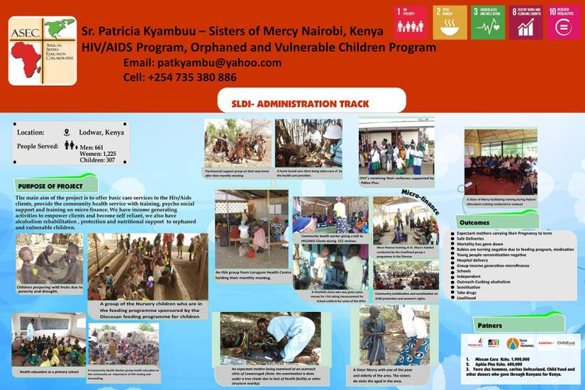 Poster designed by Sr. Patricia Kyambuu to demonstrate her programs: HIV/AIDS Program and Orphaned and Vulnerable Children Program.