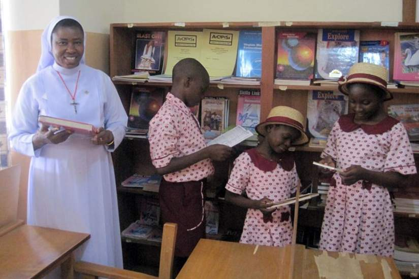 SLDI alumna, Sr. Immaculate, obtained funding for a library and science laboratory as well as learning materials to fill both of them.