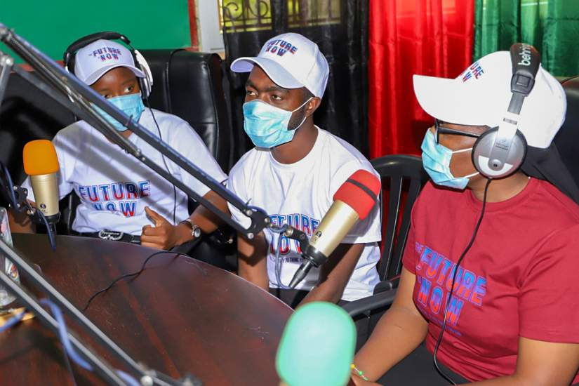 Sr. Astridah interacting with guests on her live radio show.