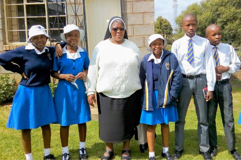 Sr. Augustina with students of Mazenod High School in Maseru, Lesotho, where she serves as Administrator.