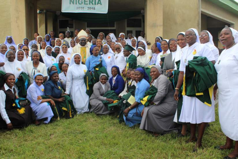 Group photo of the SLDI graduates in Nigeria with Bishop Hillary Danchelem, CMF.