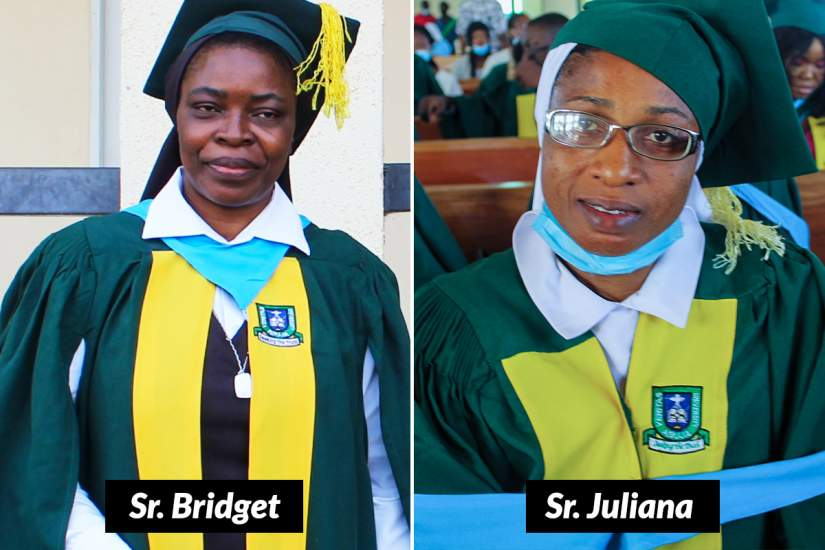 Receiving Head of Department Awards for the Best Graduating Student: Sr. Bridget in Public Administration and Sr. Juliana in  Art and Social Science Education.