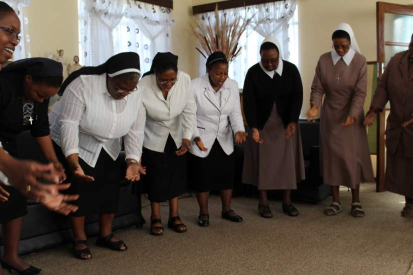 """Sisters from the SLDI Administration Workshop in Lesotho (March 2017) sing """"Lord, You picked me up from the floor..."""