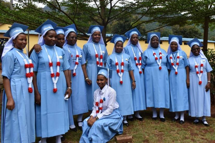 Sr. Magreth, (standing, 4th from left) graduated from the Bigwa Sisters Secondary School in May 2019. She received funding to attend school from the generous donors of ASEC's Scholarship Program.