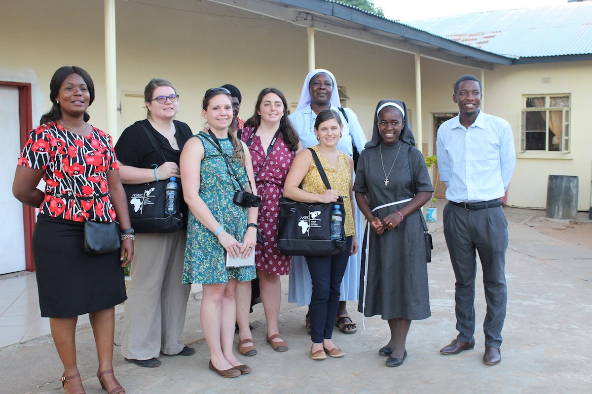ASEC staff from the U.S. with some of the staff at Makunka Rural Health Centre in Livingstone, Zambia.