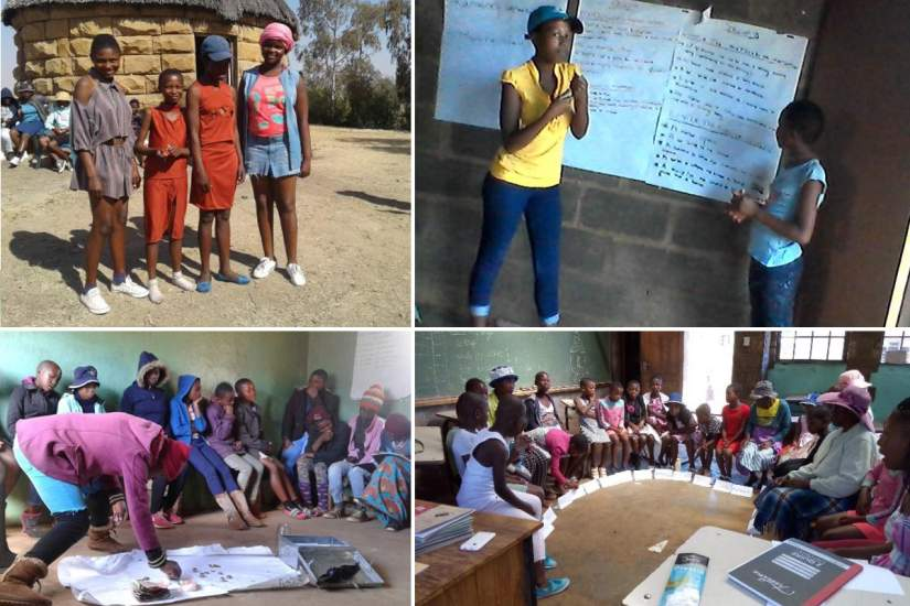Top left: AGYW model clothes they made through their Savings and Internal Lending Community (SILC) Top right and bottom left: AGYW participating in HIV messaging topics Bottom right: AGYW and their caregivers attend parenting sessions.