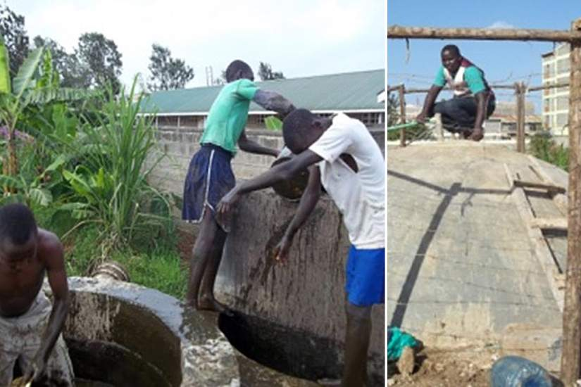 Boys from Ukweli Home are learning to farm and raising their own funds with crops from the garden. Here, the boys are cleaning the biogas digester. The waste products fertilize their farm.