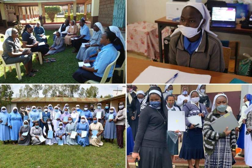 Clockwise, from top left: Alumnae workshop in Kenya (Feb. 2020). Sr. Victoria Ajio, MSBVM, attending a South Sudan SLDI Finance workshop. Sisters in Cameroon receive laptops during an Administration workshop. Tanzanian sisters receive books at a 2020 Administration workshop.