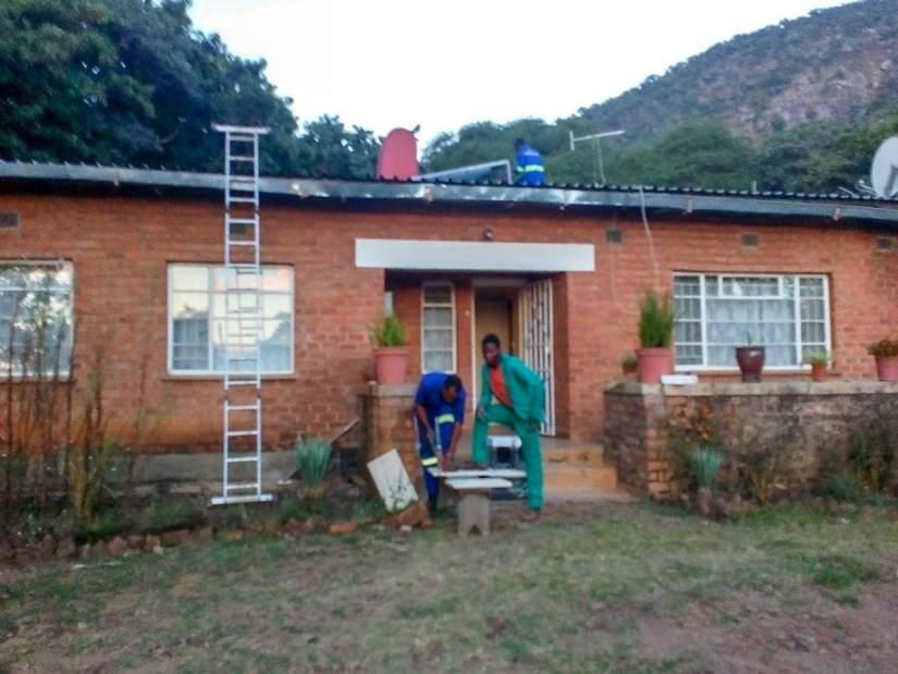 Installation of the solar panels in progress.