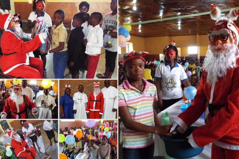 Father Christmas gives gifts and spreads Christmas joy to internally displaced children of Cameroon.
