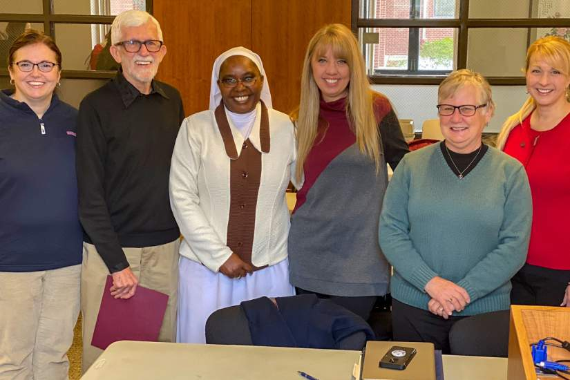Sr. Kevin with her dissertation committee and readers.